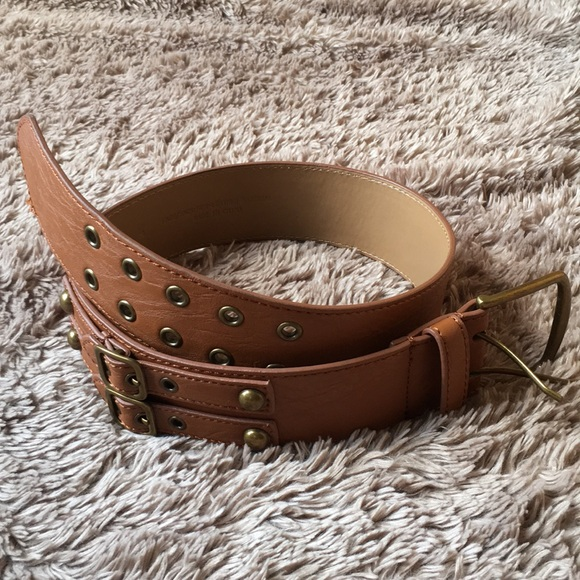 Target Accessories - Double buckle wide faux leather belt with grommets